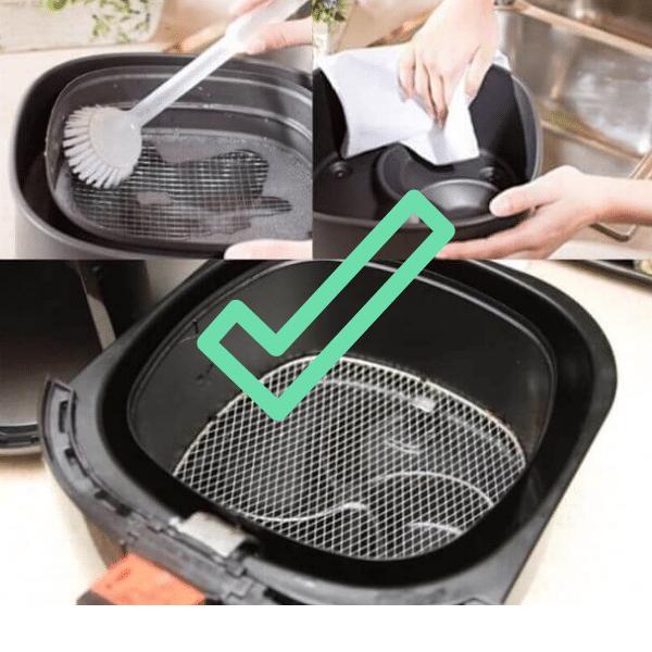 resumen del proceso de limpieza de la freidora sin aceite